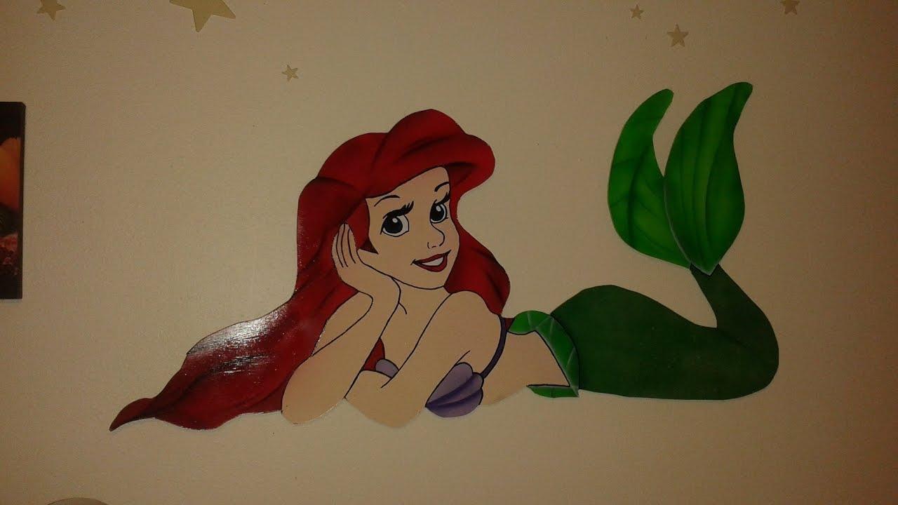 How To Paint Disneys Little Mermaid Wood Wall Art – Youtube In Mermaid Wood Wall Art (Image 8 of 20)