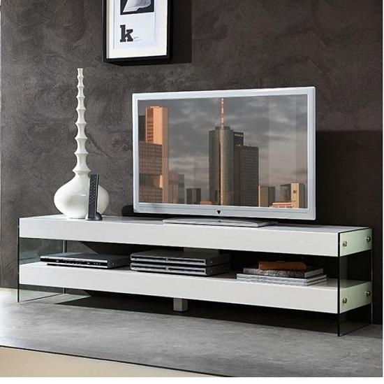How To Stylishly Contrast White Glass Tv Stands With Other Shades For Most Recently Released Glass Tv Cabinets (Image 11 of 20)