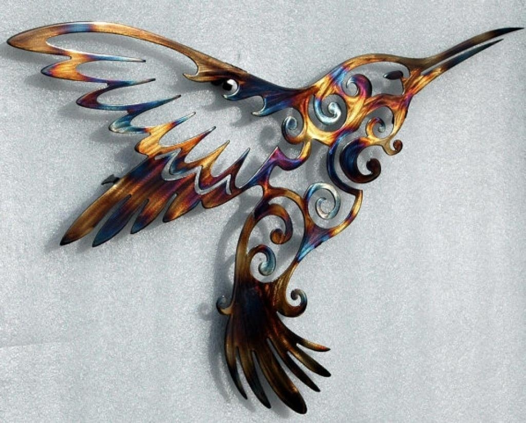 Hummingbird And Flower Metal Sign, Wall Decor, Metal Art Intended For Hummingbird Metal Wall Art (Image 8 of 20)