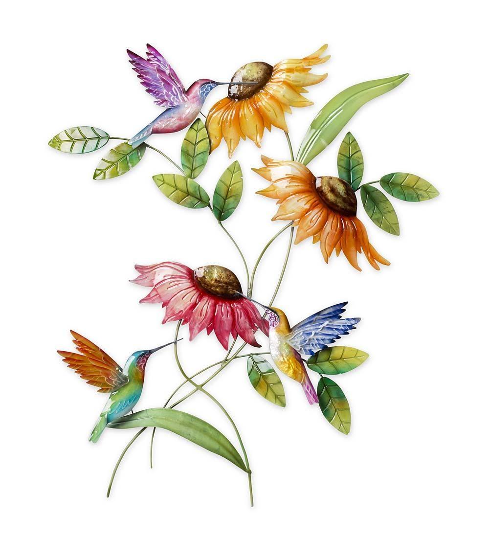 Hummingbird & Sunflower Metal Wall Art | Wind & Weather Pertaining To Hummingbird Metal Wall Art (Image 6 of 20)
