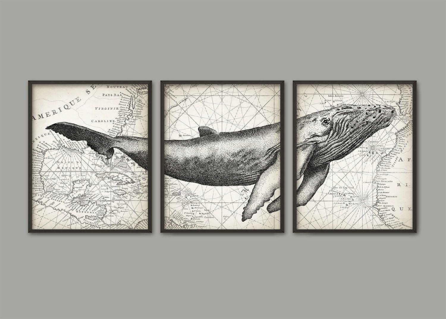 Humpback Whale Wall Art Poster Set Of 3 Whale Art Print Inside Wall Art Sets Of  (Image 8 of 20)