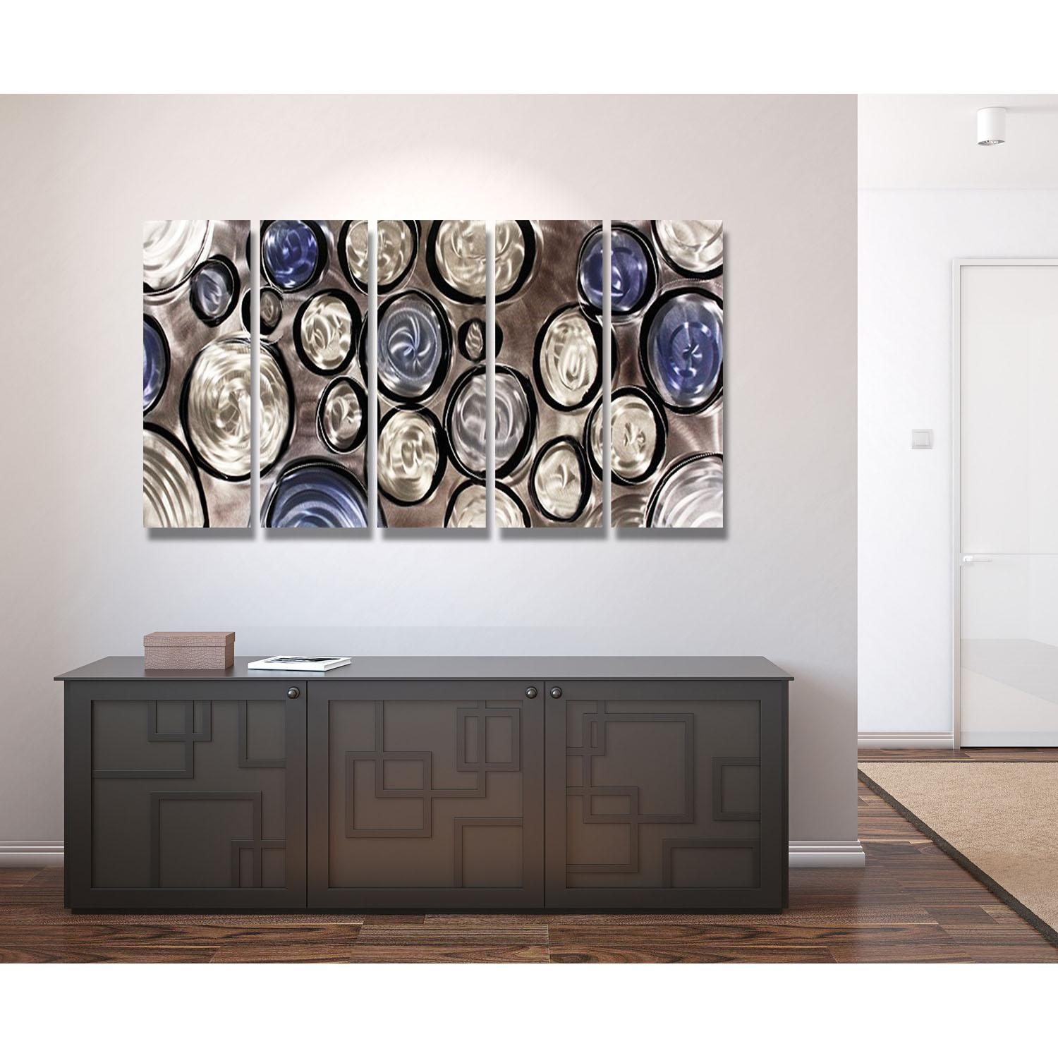 Hygge – Silver, Blue And Black Metal Wall Art – 5 Panel Wall Décor For Blue And Brown Wall Art (Image 10 of 20)
