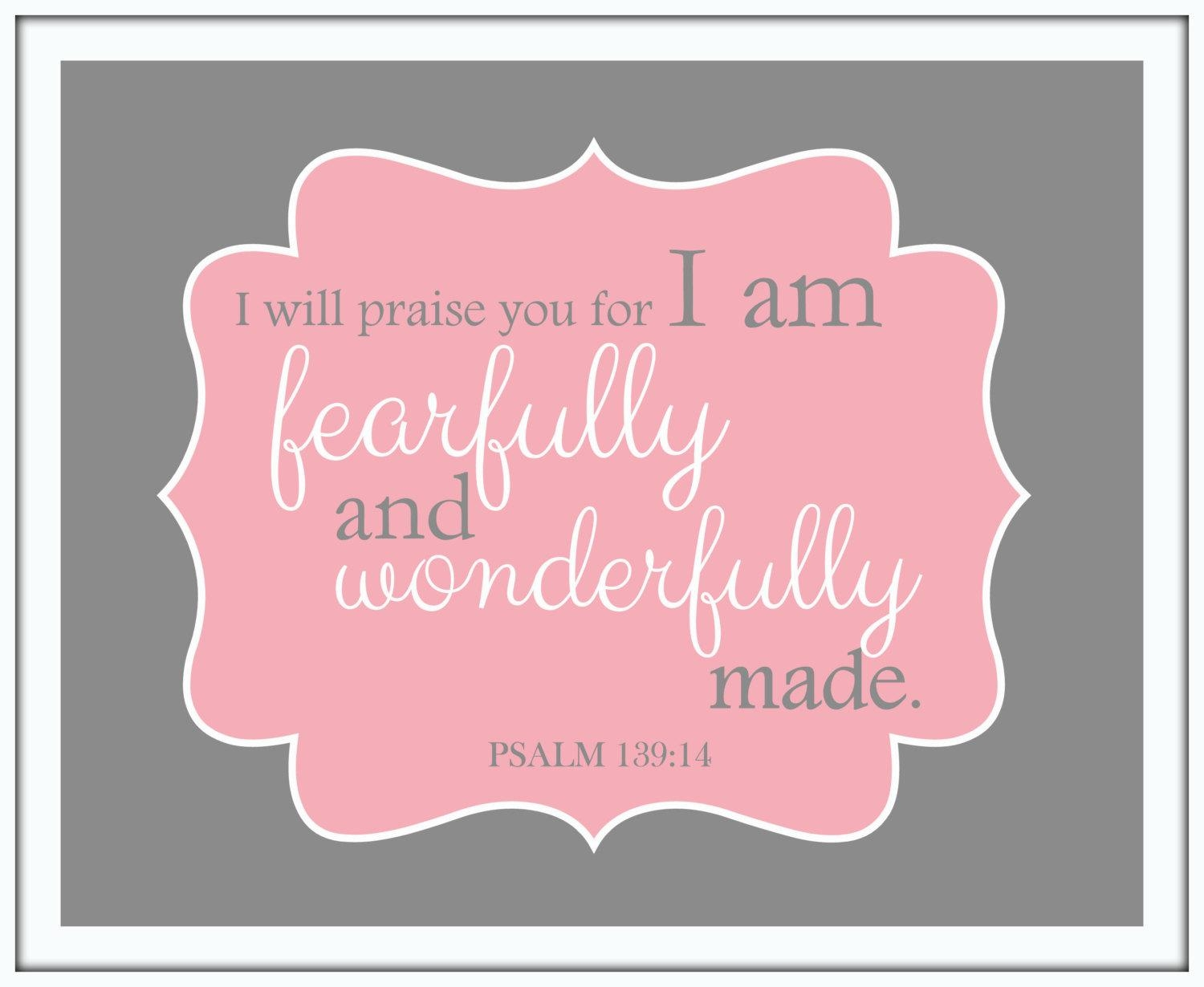 I Am Fearfully And Wonderfully Made Psalm 139:14 Christian Inside Fearfully And Wonderfully Made Wall Art (View 2 of 20)