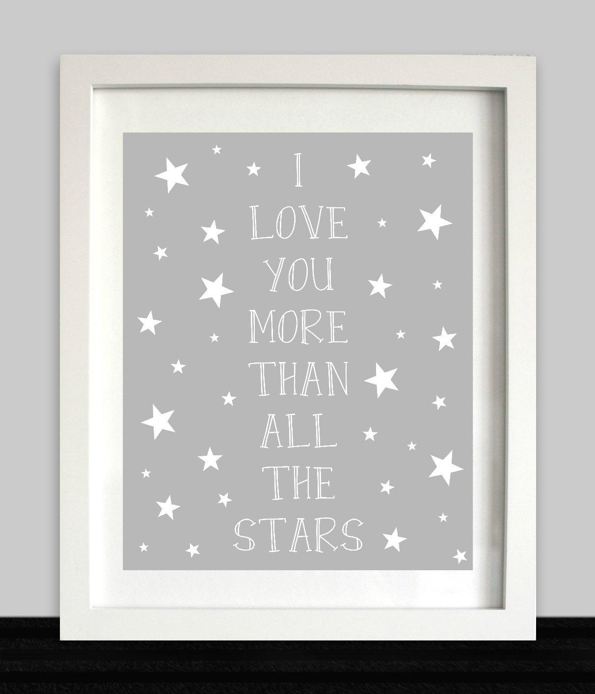I Love You More Than All The Stars Print // Nursery Wall Art Inside I Love You More Wall Art (View 12 of 20)