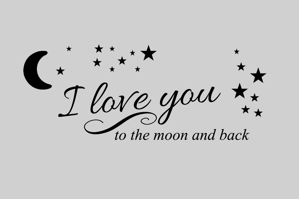 I Love You To The Moon And Back Wall Sticker – Funky Gifts Nz Regarding Love You To The Moon And Back Wall Art (View 5 of 20)