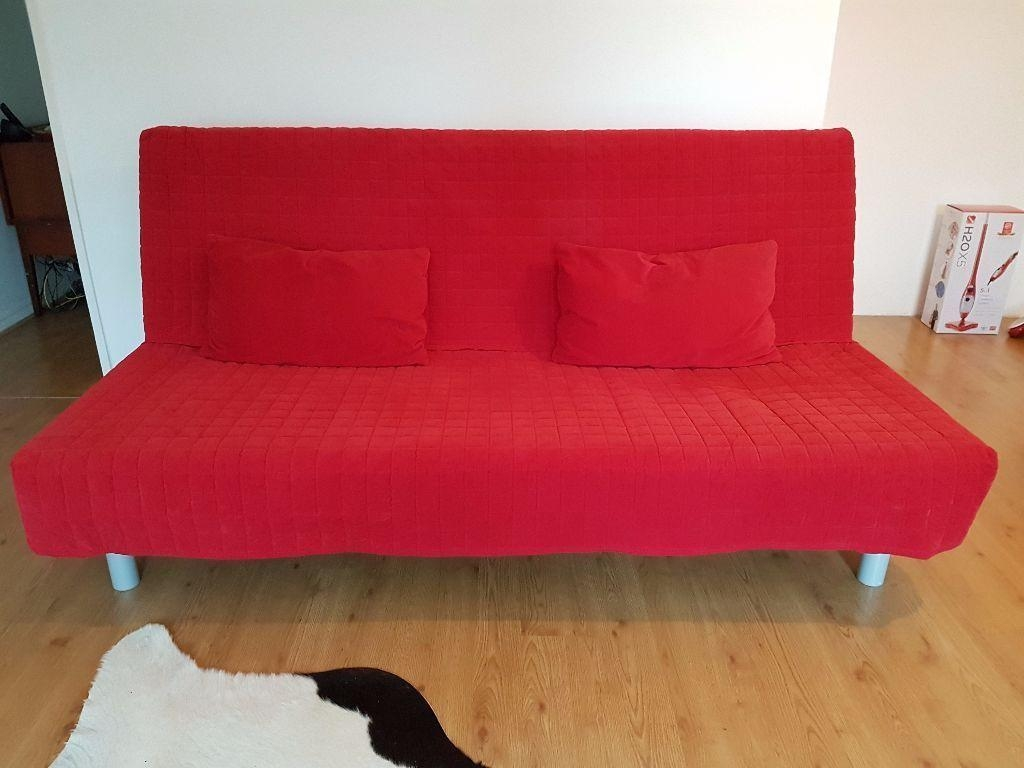 Ikea Beddinge Sofa Bed 3 Seater + Red Cover + 2 Cushions | In Intended For Red Sofa Beds Ikea (View 9 of 20)