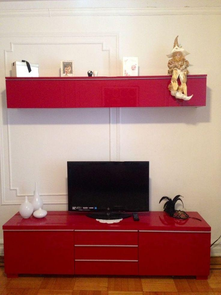 Ikea Besta Burs Tv Unit And Matching Wall Unit | In Clock Face Intended For Most Popular Red Tv Units (Image 7 of 20)