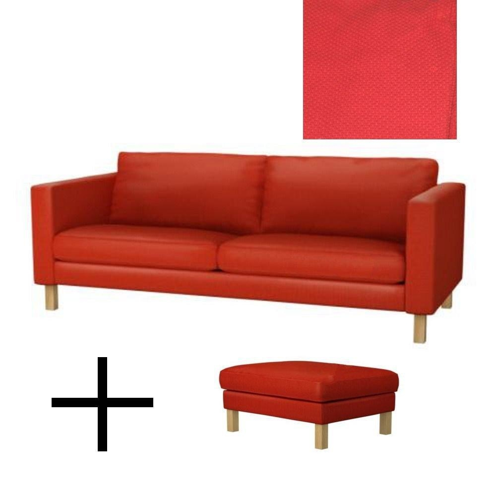 Ikea Karlstad Sofa Bed And Footstool Slipcovers Sofabed Ottoman in Red Sofa Beds Ikea