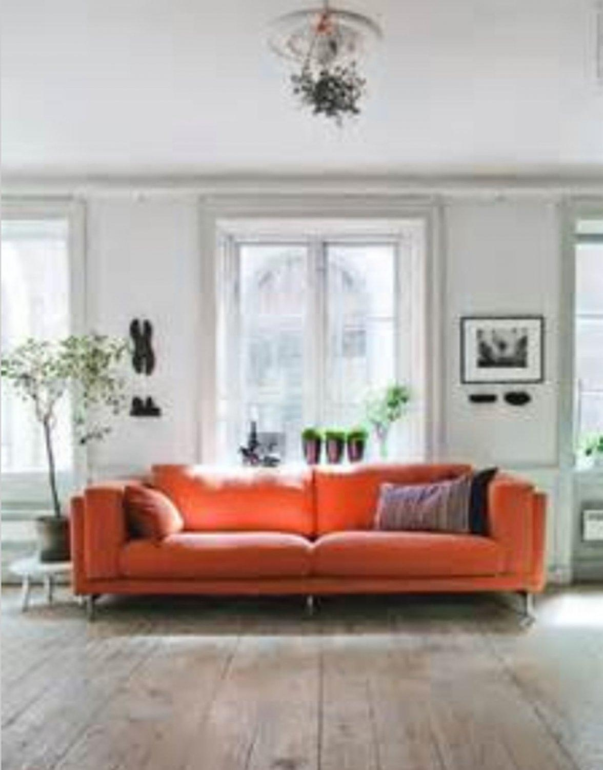 Ikea Nockeby 3 Seat Sofa Slipcover Cover Risane Orange Linen Blend Intended For Orange Ikea Sofas (Image 10 of 20)