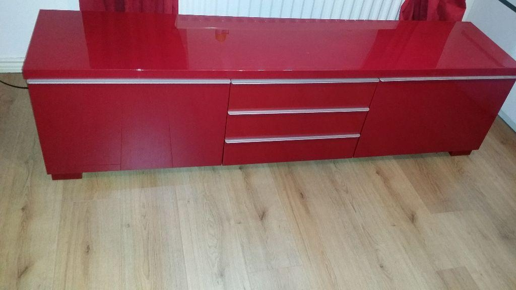 Ikea Red High Gloss Besta Burs Tv Unit Rrp 200 | In Belfast City In Newest Red Gloss Tv Stands (View 6 of 20)