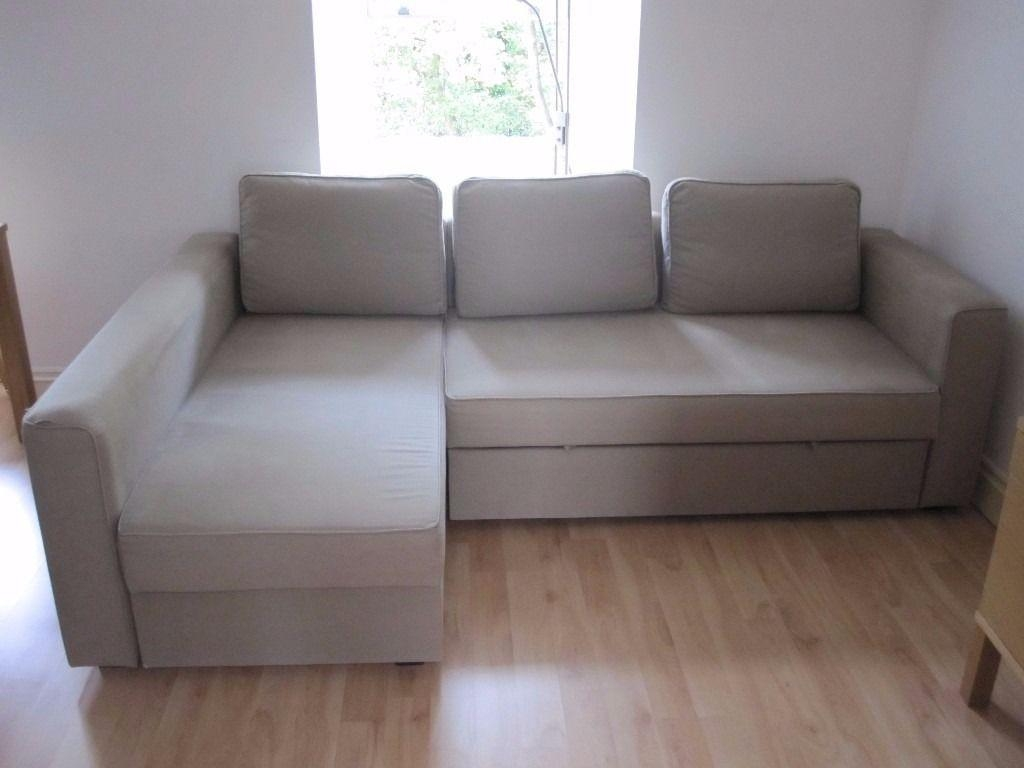 Ikea Sofa Bed With Chaise Longue And Storage, Beige, In Great With Regard To Ikea Chaise Lounge Sofa (Image 9 of 20)