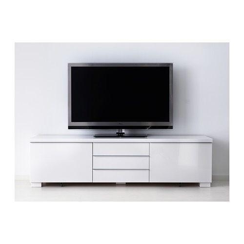 Ikea White Gloss Tv Unit (Besta Burs) | In Milton Keynes In Most Up To Date Ikea White Gloss Tv Units (View 4 of 20)