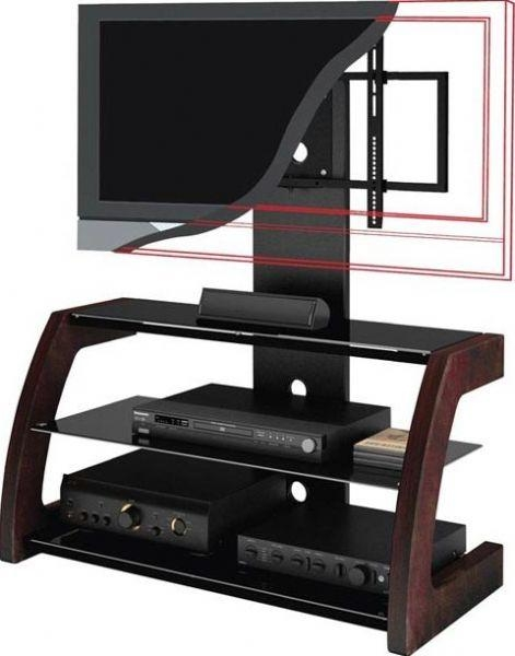 "Images Ml 1459 Flat Panel Tv Stand, Accommodates 32"" – 52"" Tv Throughout Most Up To Date Wood Tv Stand With Glass (Image 11 of 20)"