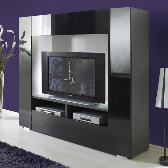 Impressive Large Black Tv Stand Tv047 Large Tv Stand In Black And Intended For Most Recently Released Large Black Tv Unit (View 9 of 20)