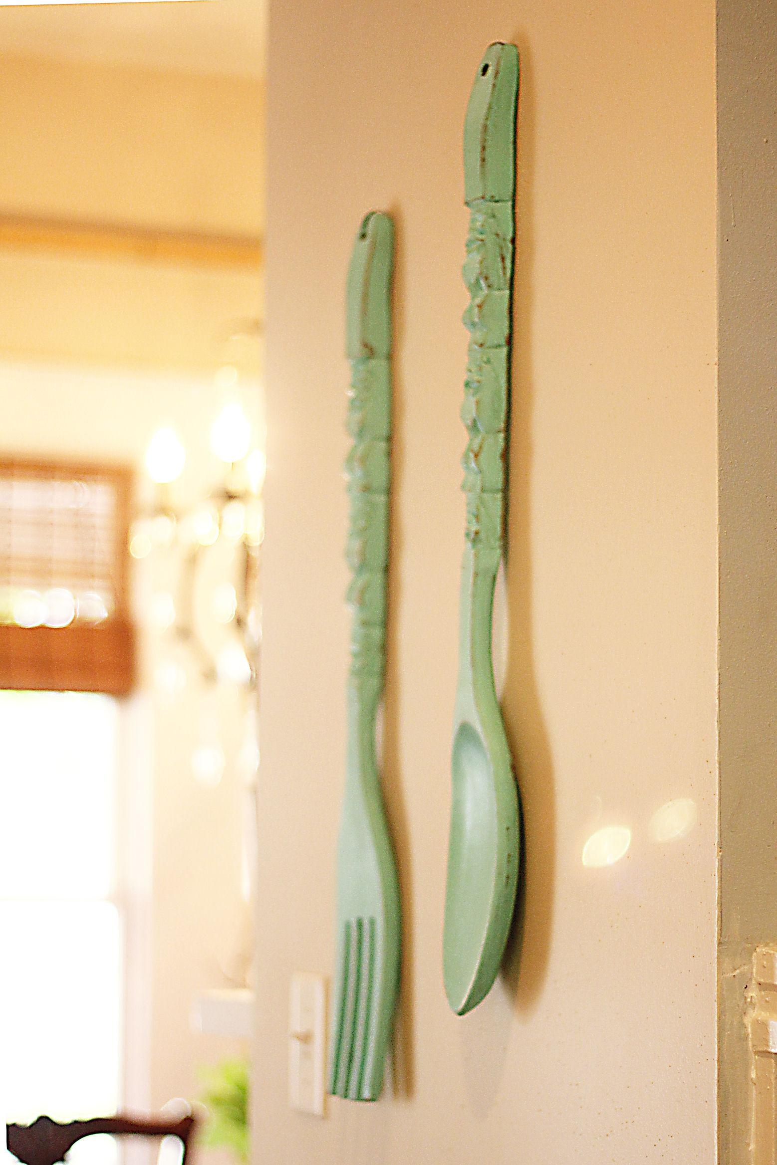 Impressive Large Silver Fork Wall Decor Extra Large Spoon Fork Regarding Wooden Fork And Spoon Wall Art (Image 11 of 20)