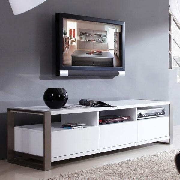 Impressive White Tv Cabinets For Flat Screens Contemporary Tv Inside Newest Contemporary Tv Cabinets For Flat Screens (Image 15 of 20)