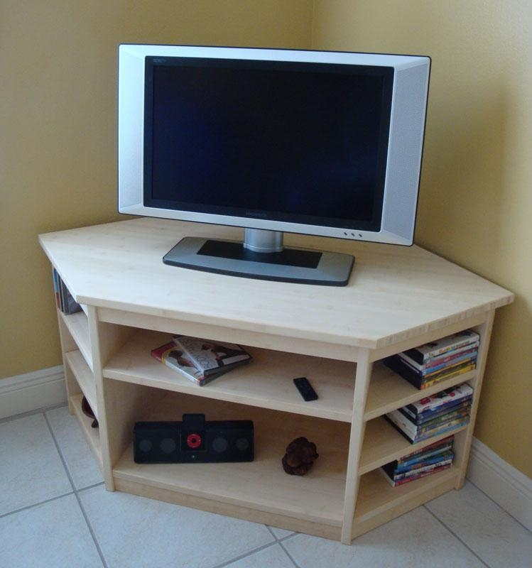 In Stock Bamboo Corner Tv Stand Inside Most Recent Triangular Tv Stands (View 18 of 20)