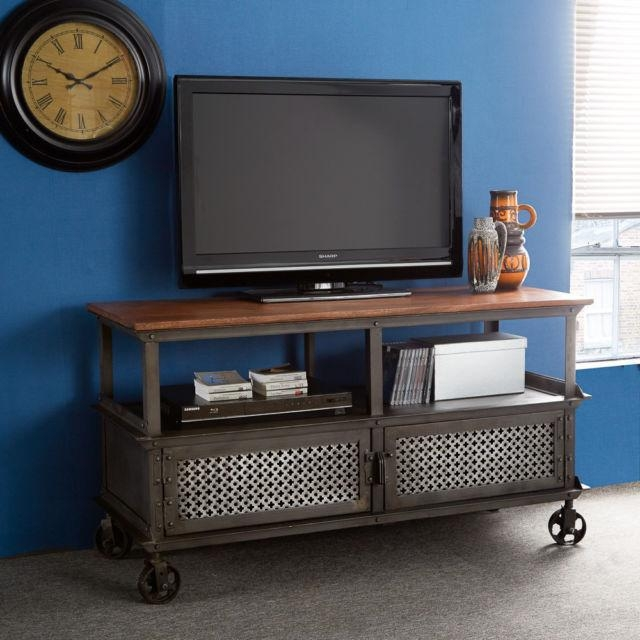 Indian Hub Evoke 100 Solid Wood & Reclaimed Metal Sideboards Tv Throughout Current Jali Tv Cabinets (Image 6 of 20)