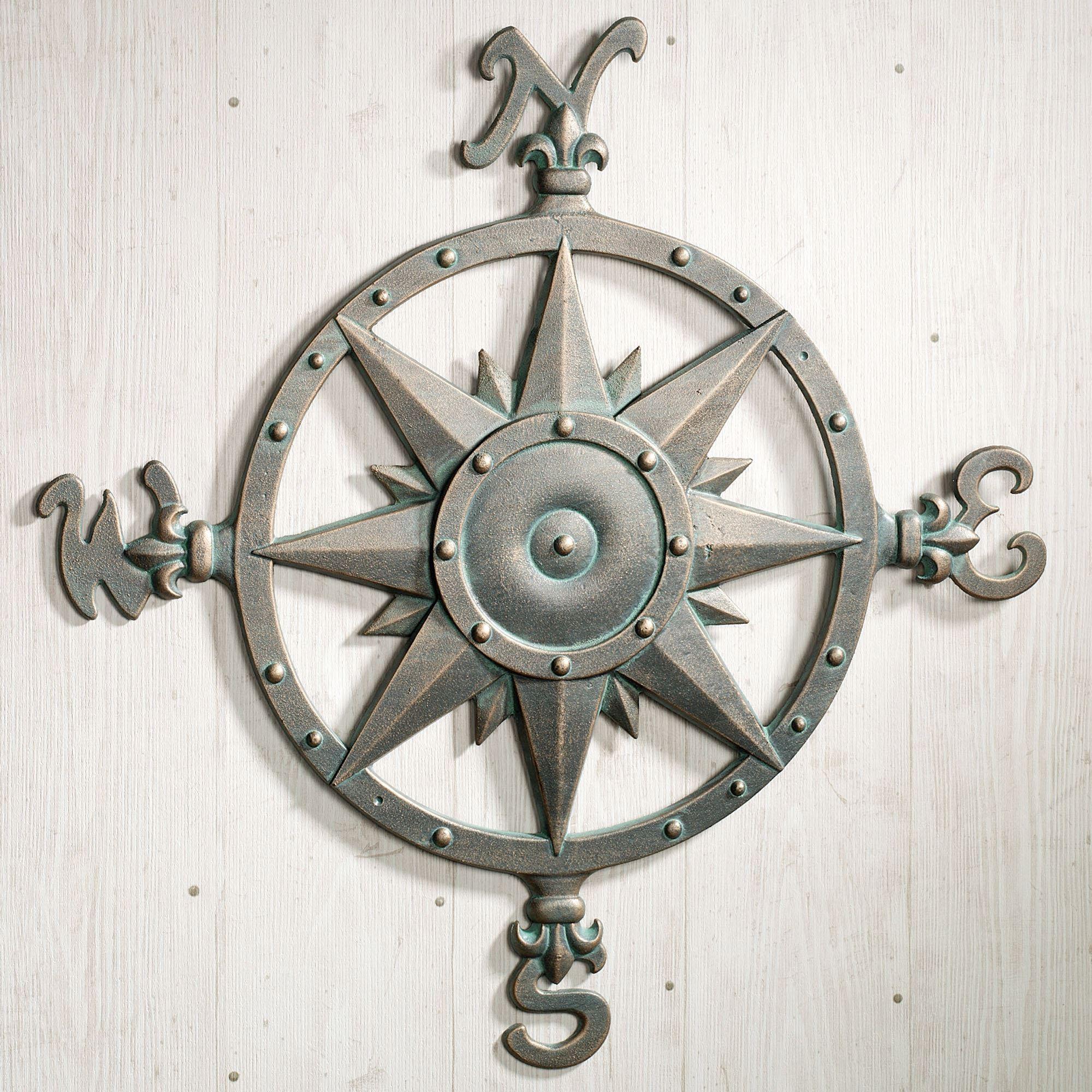 Indoor Outdoor Nautical Compass Metal Wall Art For Outdoor Metal Art For Walls (Image 9 of 20)