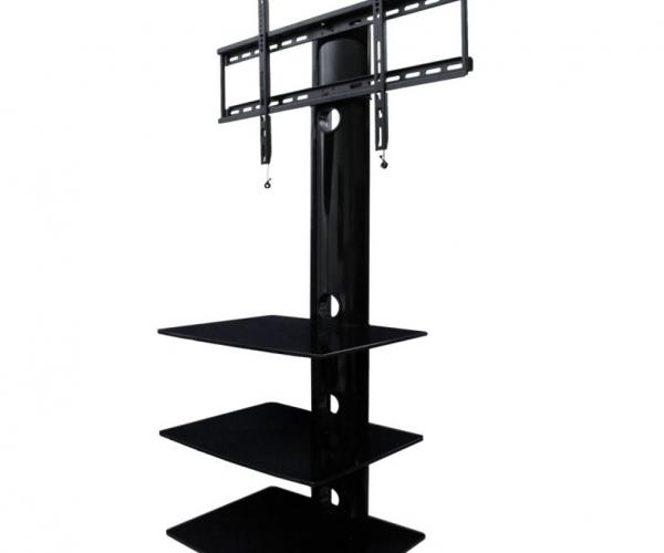 Indoor Three Shelves Tv Mounts Av Express Wall Mount Tv Stand In With Regard To 2017 Wall Mounted Tv Stand With Shelves (Image 11 of 20)