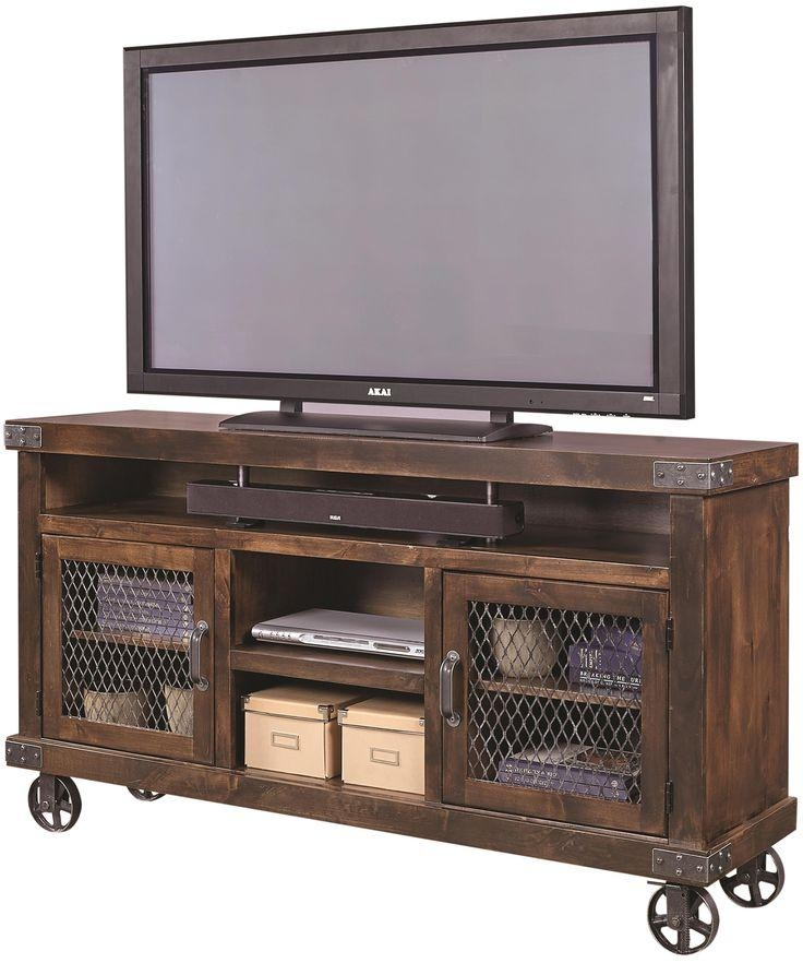 "Industrial 65"" Console With Metal Castersaspenhome 