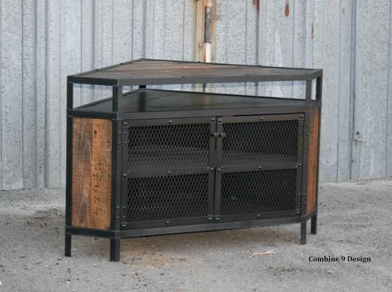 Industrial Corner Unit Reclaimed Wood Tv Stand (Image 15 of 20)