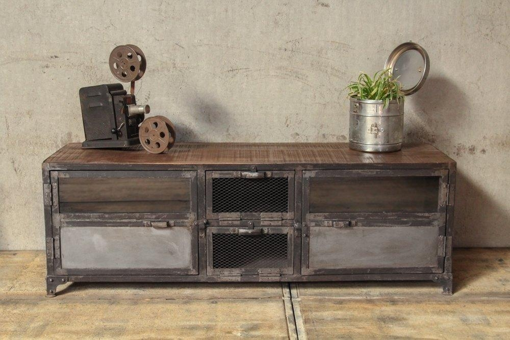 Industrial Furniture – Industrial Tv Stand In Wood And Metal | Barak'7 With Latest Industrial Metal Tv Stands (Image 8 of 20)