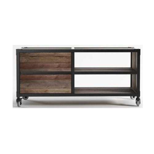 Industrial Looking Small Tv Cabinet On Castors | Industrial Inside Most Popular Small Black Tv Cabinets (Image 13 of 20)
