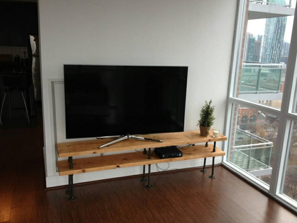 Industrial Pipe And Wood Tv Stand Entertainment Unit Within Most Current Wood Tv Floor Stands (Image 16 of 20)