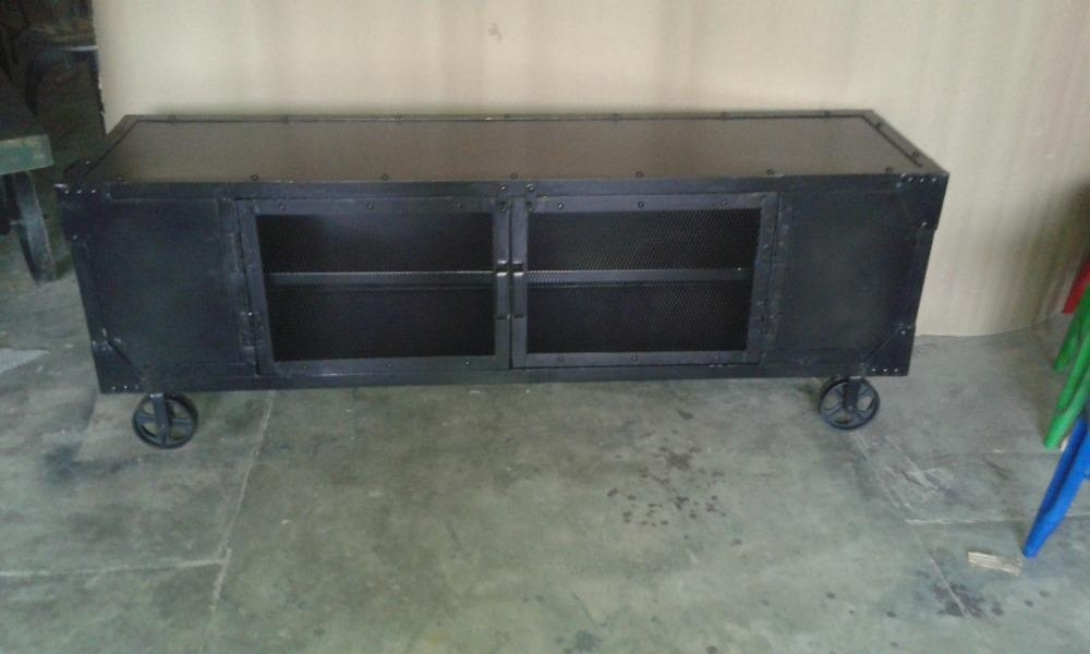 Industrial Style Furniture Black Metal Tv Stand, Recycle Black Pertaining To Best And Newest Industrial Metal Tv Stands (Image 10 of 20)