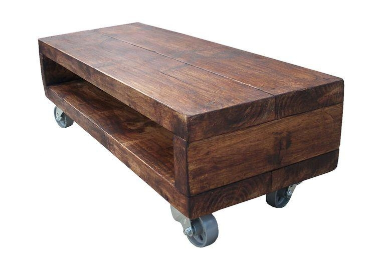 Industrial Style Low Tv Stand With Cast Iron Wheels | Pallet Tv Intended For Most Up To Date Wooden Tv Stand With Wheels (Image 15 of 20)