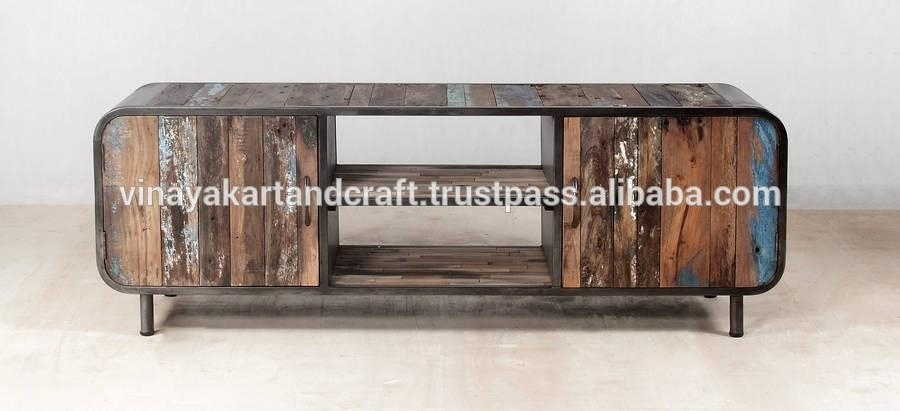 Industrial Style Wooden Tv Stand,vintage Tv Stand – Buy Cheap Tv Within Current Curve Tv Stands (Image 12 of 20)