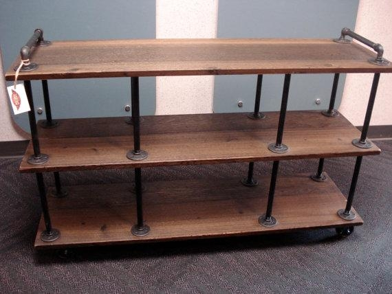 Industrial Tv Stand Iron And Wood For 46 To 52 Regarding Most Recent Industrial Style Tv Stands (Image 15 of 20)