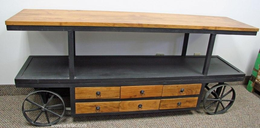 Industrial Vintage Furniture :: Ccind 149 Industrial Vintage Metal For Newest Wooden Tv Stand With Wheels (Image 16 of 20)