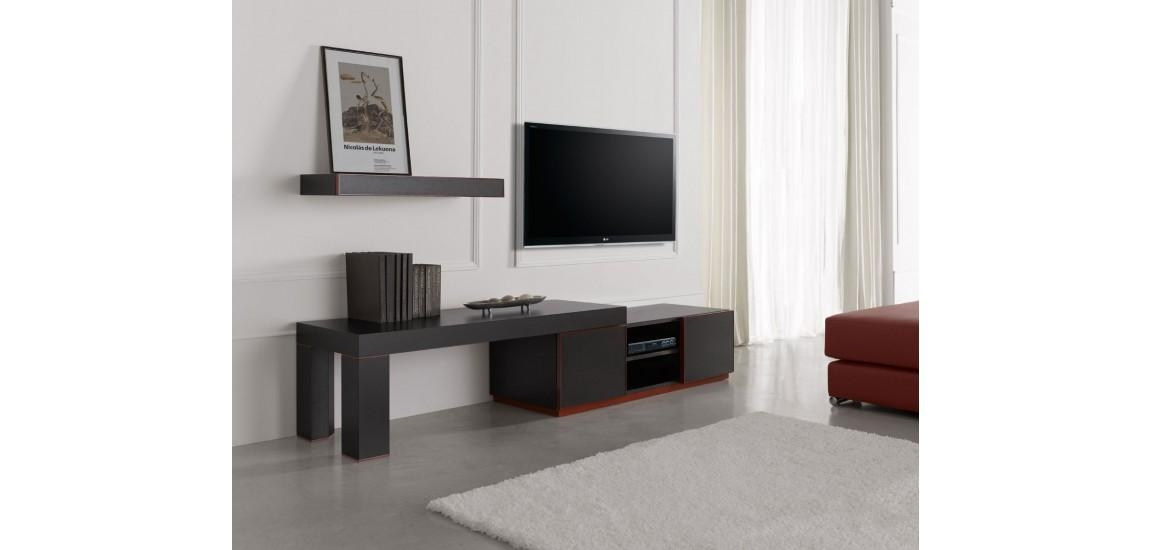 Inessa Modern Long Tv Stand In Red And Black Finish With 2017 Black And Red Tv Stands (Image 11 of 20)