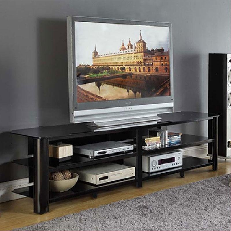 Innovex Oxford Series 82 Inch Flat Screen Tv Stand Black Glass With Regard To Recent Large Black Tv Unit (Image 14 of 20)