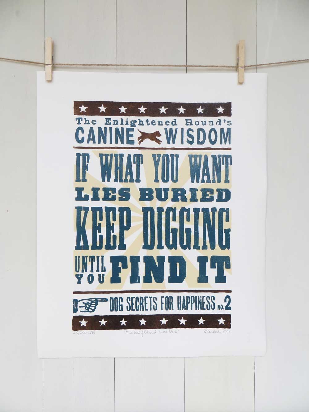 Inspirational Dog Sayings For Life: Original Word Art Print No2 Pertaining To Dog Sayings Wall Art (Image 9 of 20)