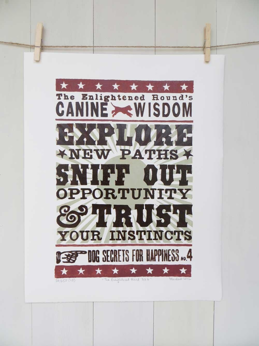 Inspirational Dog Sayings For Life: Original Word Art Print No4 For Dog Sayings Wall Art (Image 10 of 20)
