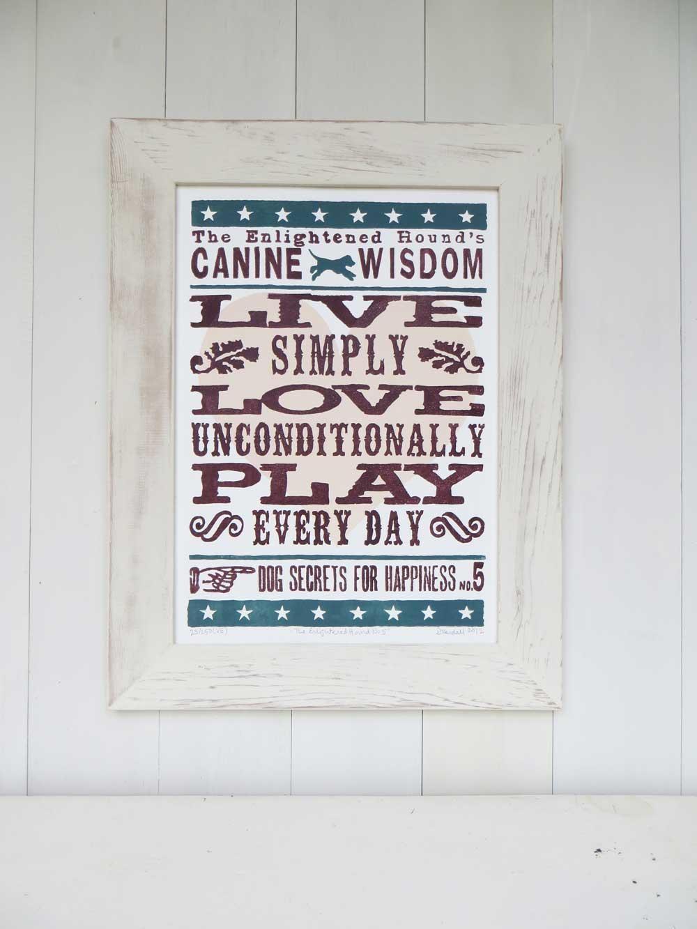 Inspirational Dog Sayings For Life: Original Word Art Print No5 with regard to Dog Sayings Wall Art