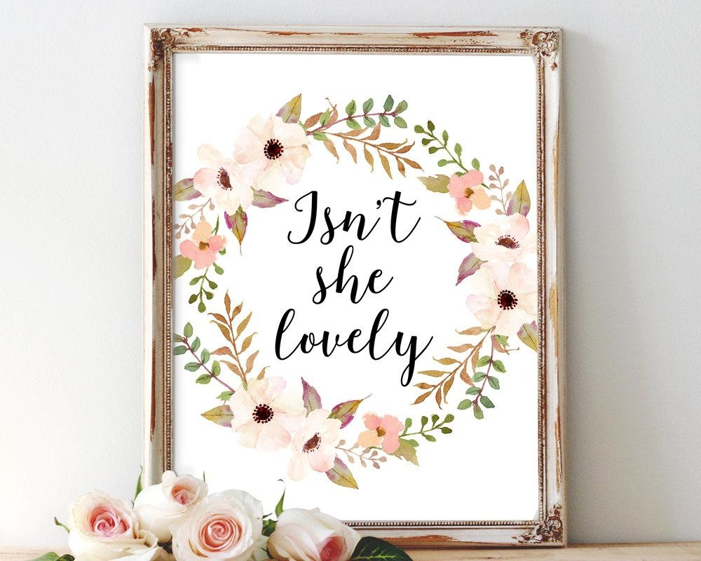 Isn't She Lovely Printable Art Nursery Wall Art Quote Throughout For This Child I Have Prayed Wall Art (Image 19 of 20)