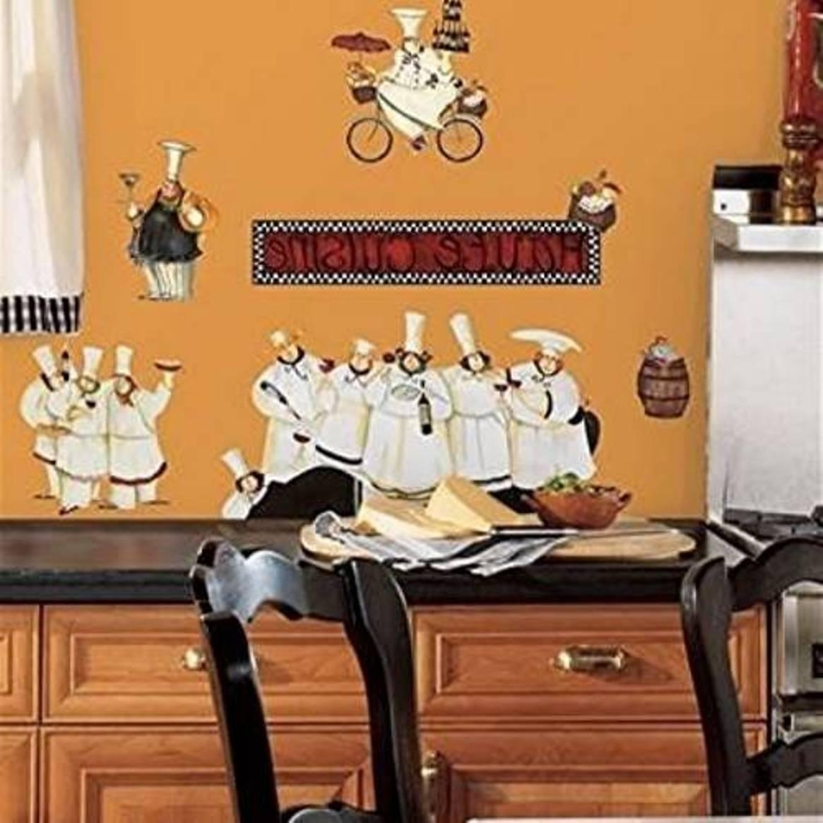 Italian Decor For Kitchen With Chef Fat Wall Decals – Surripui Regarding Italian Chef Wall Art (View 17 of 20)