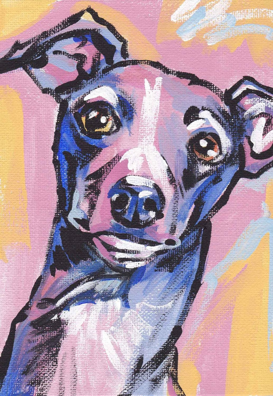 Italian Greyhound Art Print Dog Pop Art Bright Colors Intended For Italian Greyhound Wall Art (Image 12 of 20)