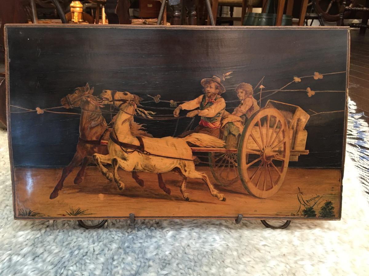 Italian Inlay Panel Of Horse Drawn Coach, Circa 1780 – Garden For Italian Inlaid Wood Wall Art (Image 11 of 20)