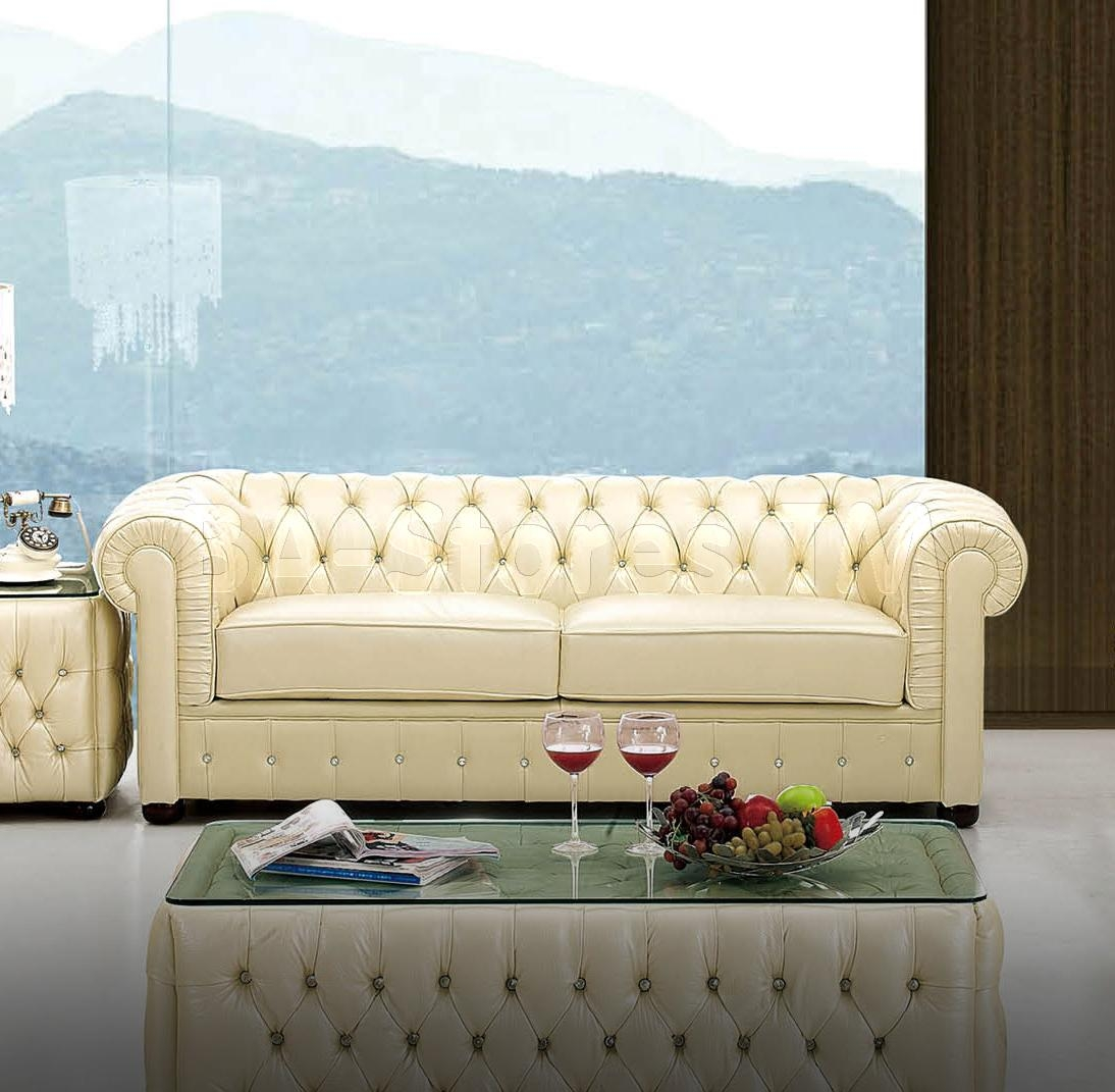 Italian Leather Sofa With Rhinestones | Sofas Esf 258 Sf/2 Inside Ivory Leather Sofas (Image 8 of 20)