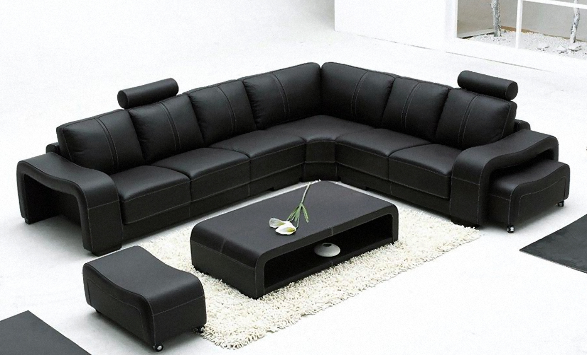 Italian Leather Sofas | Corner Sofas | Modern 2 & 3 Seater Sofas With Large Black Leather Corner Sofas (Image 11 of 22)