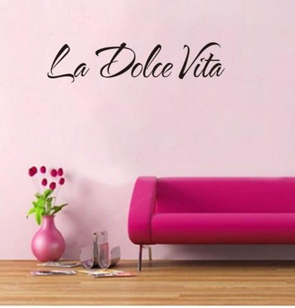 Italian Quote La Dolce Vita Letter Word Room Decor Vinyl Decals Throughout Italian Words Wall Art (View 11 of 20)