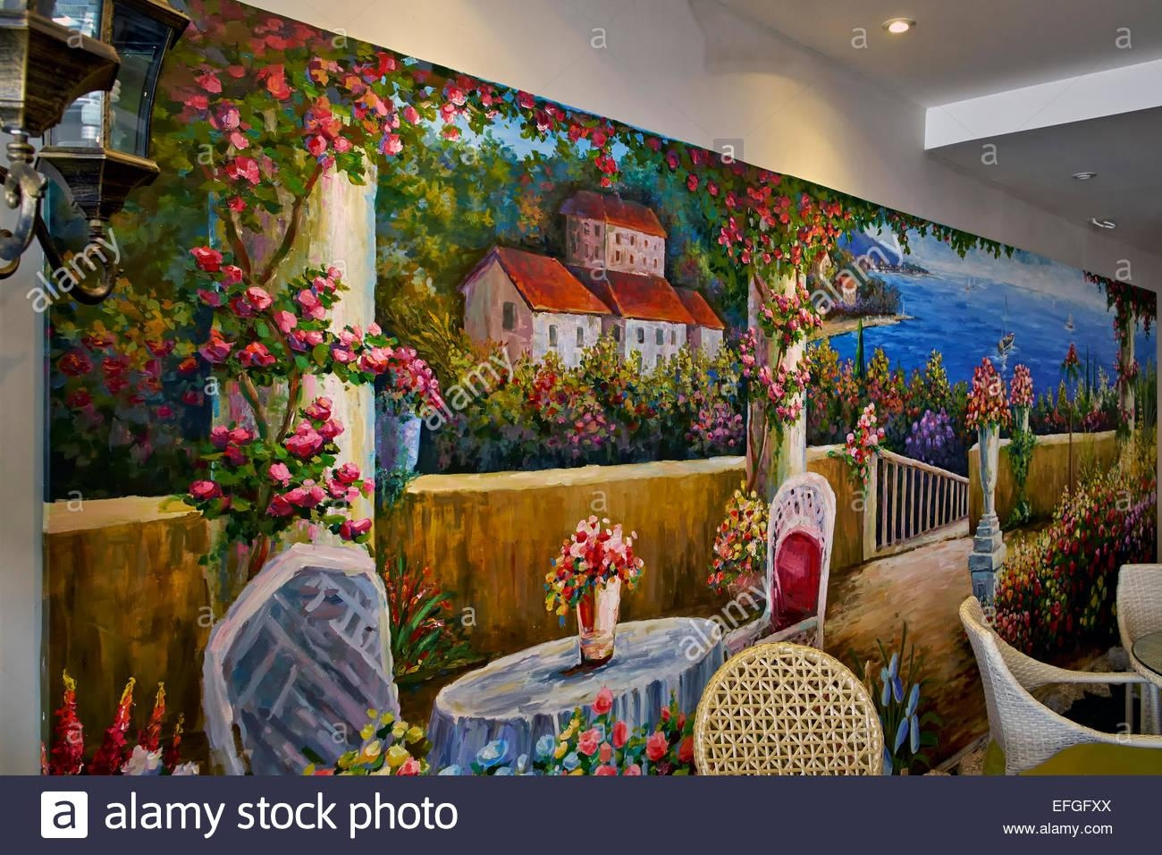 Italian Restaurant Interior With Feature Colourful Wall Mural Of For Italian Art Wall Murals (Image 7 of 20)