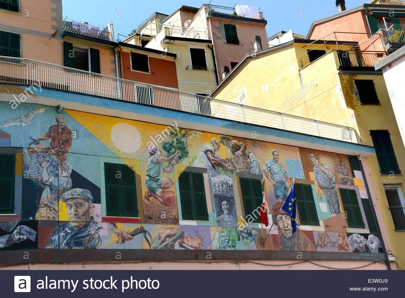 Italian Street Art Murals Mural At Riomaggiore On The Cinque Terre Inside Italian Art Wall Murals (Image 8 of 20)