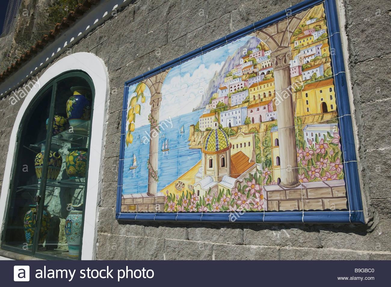 Italy Campania Amalfi Coast Positano Wall Tile Picture City View With Italian Coast Wall Art (Image 9 of 20)