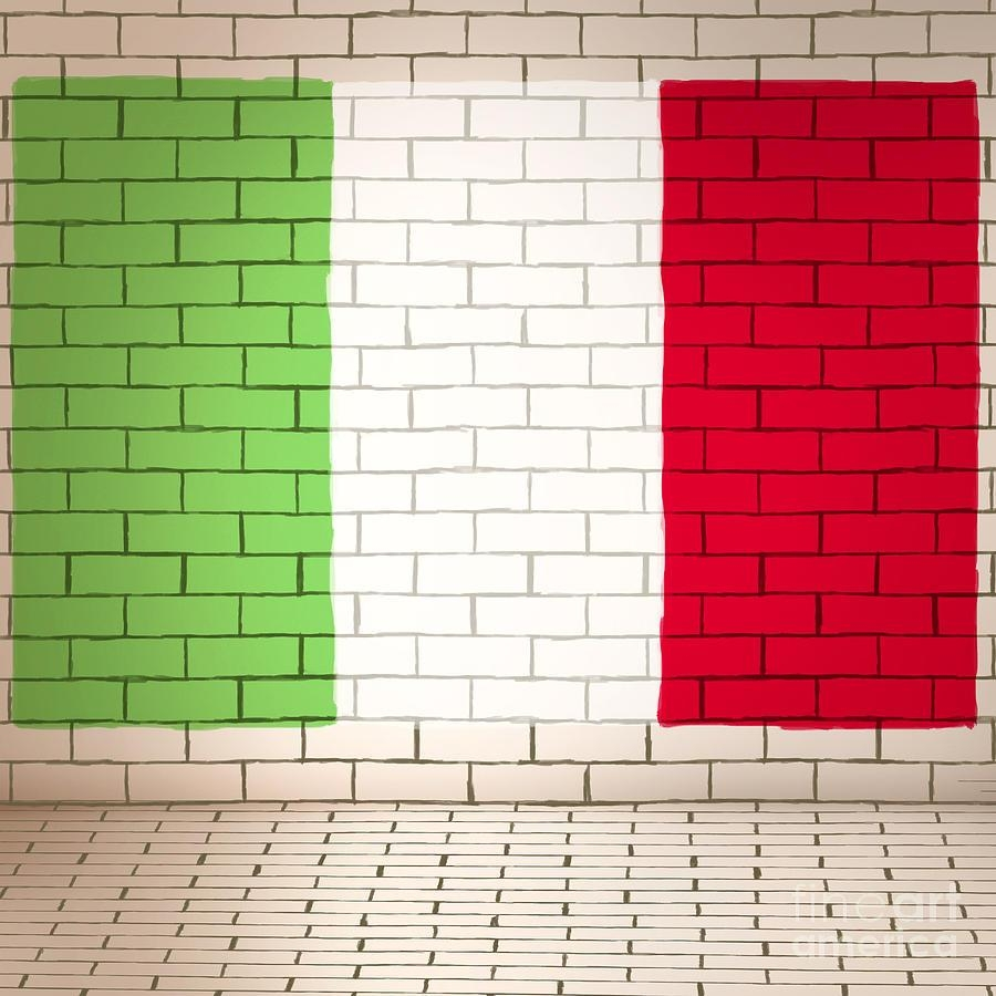 Italy Flag Brick Wall Background Photographjorgo Photography Intended For Italian Flag Wall Art (View 16 of 20)